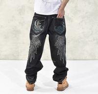 Wholesale Wide Leg Plus Size Capris - Wholesale- Hip Hop Baggy Jeans 2017 New Fashion Loose Fit Wide Leg Denim Pants Wing Embroidery Skateboarder Jeans Free Shipping