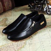 weiße beiläufige spitze schuhe männer großhandel-Großhandels-Mann-Ebene-Schuh-Weiß-beiläufige Plattform-Spitzen-Schuhe PU-Leder-Schuh-Mann-Müßiggänger-Mann-Ebenen Breathable plus Größe 39-45 OR642675