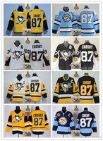 ingrosso jersey blu giallo-2017-18 Uomini cuciti Pittsburgh Penguins # 87 Sidney Crosby Nero Bianco Blu chiaro Nero giallo Magliette da hockey Trasporto di goccia di ghiaccio Ordine della miscela