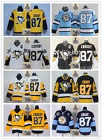 Wholesale Blue Penguin - 2017-18 Men Stitched Pittsburgh Penguins #87 Sidney Crosby Black White Light blue Black yellow Hockey Jerseys Ice Drop Shipping Mix Order