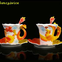 lovers pack 2018 - Enamel Dragon Phoenix Coffee Mugs Gift Packing Creative Porcelain Lover Drinkware Mugs Tea Set Ceramic Gifts Cups And Saucers