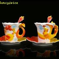 Wholesale Dragon Porcelain Tea Set - Enamel Dragon Phoenix Coffee Mugs Gift Packing Creative Porcelain Lover Drinkware Mugs Tea Set Ceramic Gifts Cups And Saucers