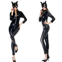 Wholesale leather jumpsuit halloween resale online - Halloween Costumes Adult Women Deluxe Leather Rider Motorcycle Jacket Cat Lady Catwoman Costume Catsuit Jumpsuit