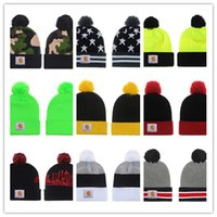 Wholesale Trendy Baseball Hats - 2018 Unisex CC Trendy Hats Winter Knitted Fur Poms Beanie Label Fedora Luxury Cable Slouchy Skull Caps Fashion Leisure Beanie Outdoor Hats