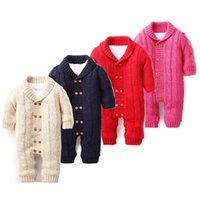 Wholesale Bebe Sizing - Baby Rompers Boy Clothes Knitting Baby Winter Christmas Thicken Hooded Warm Baby Clothes Roupas Bebe JY0137