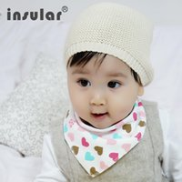 Wholesale Cotton Bib Nursing Towel - Wholesale Cartoon Baby Bibs Towel Bandanas Triangle Burp Cotton Burp Saliva Infant Toddler Bandana Scarf Double Layers Kids Nursing Bibs