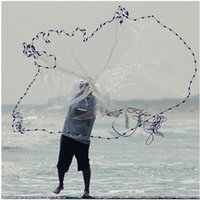Wholesale Fish Usa - quality diameter 240cm 300cm 360cm 420cm usa style cast fishing net hand throw net fish trap Galvanized Environmental protection Pendant