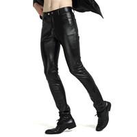 Wholesale Look Man Winter Fashion - Wholesale- Mens Black Faux Leather Trousers Wet Look Motorcycle Biker PU Pants Slim Fit Winter Jeans Windproof Warm Fleece Lining 903-347