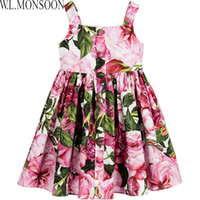 "Wholesale Girls Rose Floral Dress - W.L.MONSOON Girls Dress Summer 2017 Brand Kids Pink ""Rose Bianco"" Cotton Dresses for Girls Costumes with Button Princess Dress"