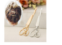 Wholesale Unique Jewlery - Trendy Scissor Hairpins Women Lady Gold Matal Hair Clips Fashion Hair Accessories Fine Jewlery Unique Design