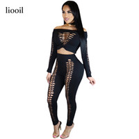 Wholesale Wholesale Two Piece Bodycon - Wholesale- Liooil Black Two Piece Rompers Womens Jumpsuit Sexy Cut Out Long Sleeve Slash Neck Hollow Out Bodycon Jumpsuits Elastic Overalls