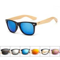 gafas de sol espejadas mujeres al por mayor-Ralferty Retro Bamboo Wood Sunglasses Hombres Mujeres Diseñador Sport Goggles Gold Mirror Sun Glasses Shades lunette oculo