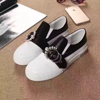 Wholesale Euramerican High Heels - The latest women casual shoes high-grade hardware brand temperament of pearl euramerican style shoes with flat sole
