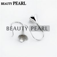 Wholesale Bulk Caps - Bulk of 3 Pairs Sterling 925 SilverJewellery Findings Earwire Flat Fishhook with Bead Cap for Half Drilled Pearls