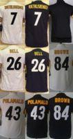 Wholesale Blank Black Football Jersey - Youth Football Stitched Blank #7 Ben Roethlisberger #26 Le'Veon Bell #84 Antonio Brown #43 Troy Polamalu White Black Jerseys Mix Order