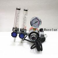 Wholesale co2 regulators - Wholesale- 1PCS MIG MAG Welding CO2 Regulator dual flowmeters CO2 RH600 AC220V Input thread RUSSIAN G3 4