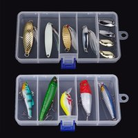 Vente en gros - 1 pc Nouveau 5 compartiments Par 4 Splitter Transparent Plastic Fishing Lure Bait Box Storage Organizer Container Case