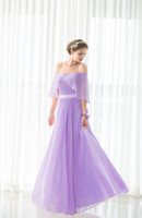 2017 Off-the-плечо Pleat Purple Long Bridesmaids Evening Party Официальные платья знаменитостей Chiffion Sexy Women Prom Fashion A Line Gowns