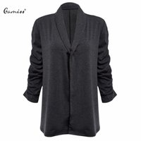Wholesale Thin Down Coats For Women - Wholesale- Trendy Spring Autumn Cardigan Turn-Down Collar Three Quarter Sleeve Solid Knit Tops Coat For Women Sweater Cardigan Feminino