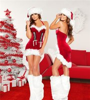 Wholesale santa sexy outfits - 2017 New Style European And American Style Christmas Dress Role Play Uniform Temptation Sexy Suit Party Dress Girl Outfit