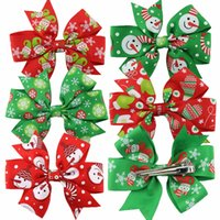 Wholesale Decoration Ribbon Bow - Christmas Ornaments Bowknot Hairpin Hair Clips Girl Ribbon Bow Barrettes Hair Accessories Christmas Decorations Free Shipping