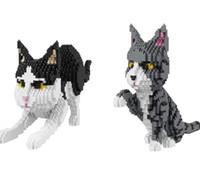 Wholesale mini model kits - 2 Styles Balody cat Series blocks mini diamond home cat model building bricks tom cat educational assembly Model Kits #2690pcs