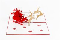 Wholesale Pl Car - Wholesale- New Style Christmas Card Deer Car Shape Creative Three-dimensional Christmas Greeting Card New Year Festival Card Handmade PL