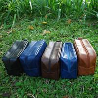Wholesale Aluminum Shavings - Wholesale Blanks PU Faux Leather Men's Shaving Bag Cosmetic Bag Solid Color Zipper Makeup Bag DOM103137