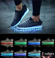 online shopping Usb Light Shoes - Hot LED Shoes light colorful Flashing with USB Charge Unisex Fluorescent Couple Shoes Party and Sport Casual Shoes for Kid and Adult