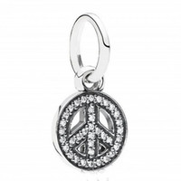 Wholesale Dangle Peace - 2017 New 925 Sterling Silver DIY Jewelry Pave CZ Symbol Of Peace Dangle Charms Beads Fits European Bracelet Making HB464