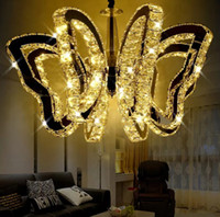 Wholesale Remote Control Butterflies - K9 butterfly LED ceiling light modern crystal Pendant lamp For living room lights bedroom restaurant lamp Indoor chandeliers G4 Bulbs LLFA