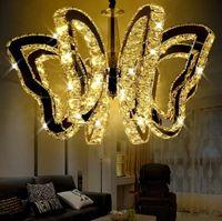 führte schmetterling kronleuchter großhandel-K9 Schmetterling LED Deckenleuchte moderne Kristall Pendelleuchte für Wohnzimmer Lichter Schlafzimmer Restaurant Lampe Innen Kronleuchter G4 Lampen LLFA