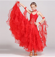 Wholesale Rosette Children Skirt - 4Color New children dress girls diamond ballroom Waltz Tango Foxtrot quickstep costume competition clothing standard ballroom dance skirt