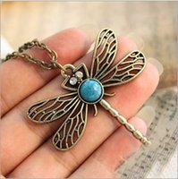 Wholesale Turquoise Jewelry For Cheap - 12pcs Vintage Jewelry Retro Hollow Dragonfly Korean Long Paragraph Sweater Cheap Chain Pendant Necklace For Women