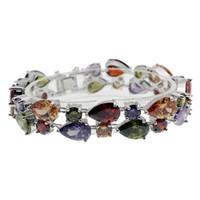 """Wholesale Morganite Crystal - 925 Sterling Silver Rhinestone Crystal Gemstone Amethyst Peridot Garnet Morganite Tennis Links Bracelets Jewelry 8"""" INCH"""