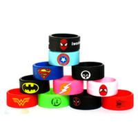 vape bantları logosu toptan satış-Buharlaştırıcı Vape Band Silikon Halka Renkli Dekorasyon Koruma Kauçuk Yüzük Deadpool Flaş Hulk Batman Logo Fit E Sigara Modları DHL Ücretsiz