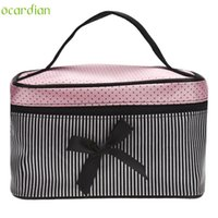 Wholesale Making Shipping Containers - Wholesale- Naivety 2016 New Bowknot Stripe Makeup Cosmetic Bag Square Storage Box Make Up Organiser Container 11S60921 drop shipping