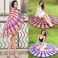 Wholesale flowered cotton tablecloths resale online - Beach Towel Round Mandala Bright Colored Flower Tablecloth Sunscreen Shawl Portable Quick Drying Yoga Mat Multi Function mda J R