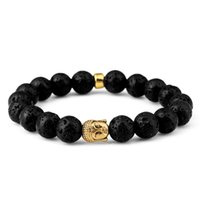 Pedra Bijuteria Buda Homens Pulseiras Pulseira de ioga vulcânica de lava 2017 Hot Sale Men's Fashion Bead Chains Luxury Hiphop Jewelry