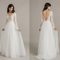 Wholesale new romantic style dresses resale online - New Style Long Illusion Sleeve A Line Lace Wedding Dresses Tulle Deep V Neck Backless Sexy Bridal Gowns Custom Made Romantic Hot Sale