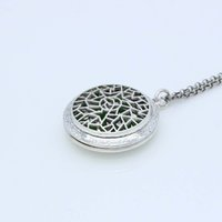 """Wholesale Asian Filigree - Wholesale New Arrival Filigree Geometry Lockets Can Open Antique Silver Pendant Essential Oil Aromatherapy Diffuser Necklace 30"""" Chain"""