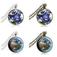 ana mücevherat toptan satış-Mother Earth Fotoğraf Kolye Küre Kolye Gezegen Takı Uzay Kolye Cam Cabochon Zaman Taş Kolye Mücevher