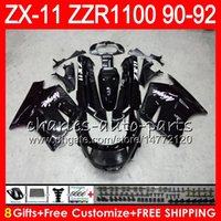 Wholesale 1992 zx11 black - 8Gifts 23Colors For KAWASAKI NINJA ZX11 ZX11R 90 91 92 ZZR 1100 21HM1 glossy black ZX 11 11R ZZR1100 ZX-11R ZX-11 1990 1991 1992 Fairing Kit