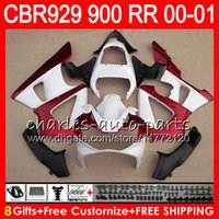 Wholesale Honda Cbr 929 Fairings Red - gloss white Body For HONDA CBR 929RR CBR900RR CBR929RR 00 01 CBR 900RR 67NO6 CBR929 RR CBR900 RR CBR 929 RR 2000 2001 red Fairing kit 8Gifts
