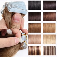 Wholesale Indian Remy Color - Tape in human hair extensions best quality indian remy PU skin weft tape hair extensions 20pcs pack different color available