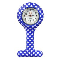 Wholesale Doctor Dot - Wholesale- Fashion Nurse Clip-on Fob Brooch Watches Silicone Dots Pendant Hanging Pocketed Watch Medical Doctor Hanging Quartz Clock New