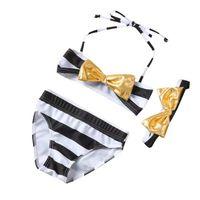 Wholesale Lovely Bikini - 2017 new lovely girl striped bowknot bikini set swimsuit 3pcs cute baby girl swimwear bathing suit beach wear with headband free shipping