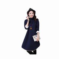 Wholesale Lining Arc - 2017 women autumn fashion turtle arc dress loose sweater large size Long sleeve pure dress