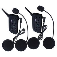 Venta al por mayor-2Pcs auricular BT inalámbrico Bluetooth 3.0 auriculares casco de la motocicleta Interphone V6 1200m distancia auricular Intercom