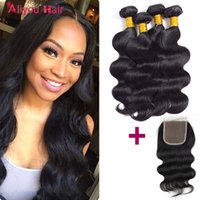 Wholesale Lace For Hair - Most Popular Brazilian Body Wave Virgin Hair Weaves Deals 4 Bundles with Human Hair Lace Closure Remy Silk Weave Extensions Just for you